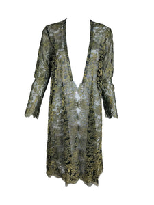 SOLD Sheer Gold Metallic Lace Coat Vintage 1980s