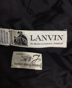 Lanvin numbered Haute couture black silk and velvet strapless cocktail dress