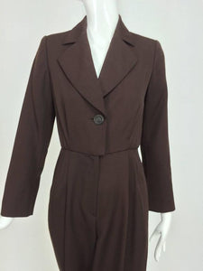 SOLD Yves Saint Laurent brown wool tuxedo jumpsuit 1970s