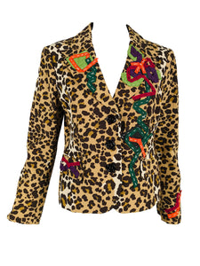 Vintage Moschino Leopard Print Ribbon Applique Jacket 1990s