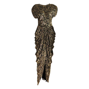 Lillie Rubin black and gold Lurex 40s inspired gown 1980s