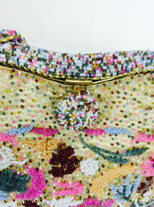 SOLD Candy Colour Confetti Glass Beaded Evening Bag 1950s