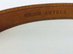 Moschino black patent belt with silver heart buckle