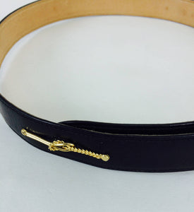 Gucci black box calf leather belt with gold harness appliques 28