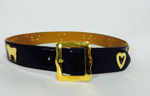 Moschino Redwall Swiss Appenzeller style belt with cows & hearts 1980s