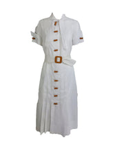 Vintage 1930s White Cotton Window Pane Woven Day Dress Bakelite Buttons