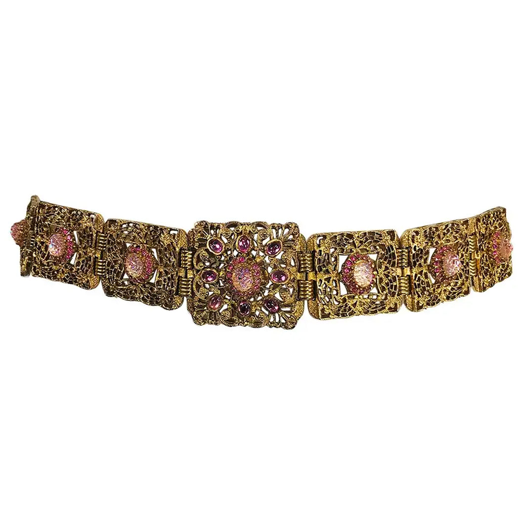 Gold Metal Filigree Link Belt Pink Textured Glass and Rhinestones 1960s