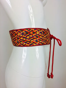 Yves Saint Laurent woven coloured cord and leather belt 1960s