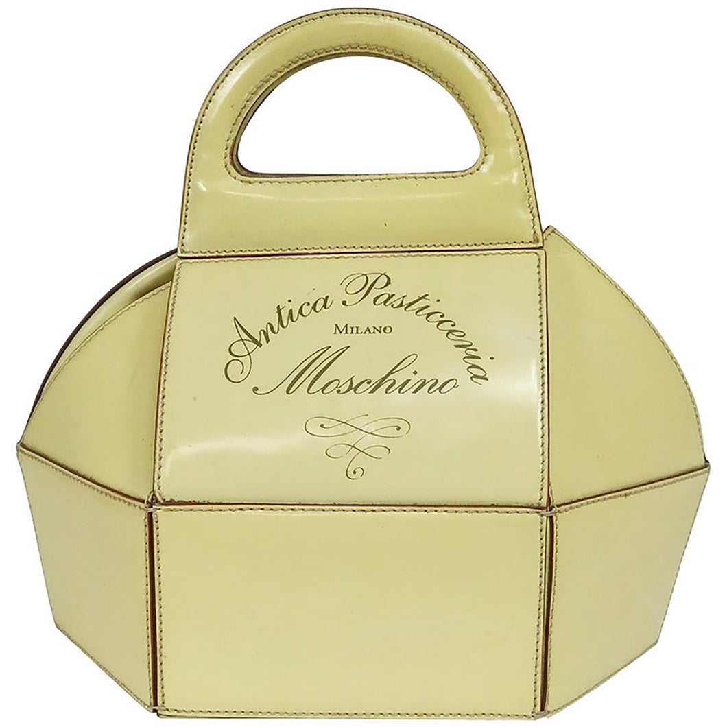 Moschino Pastry Box Glazed Leather Handbag Vintage 1980s