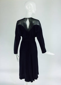 Halston black silk chiffon & silk charmeuse bias cut cocktail dress 1970s