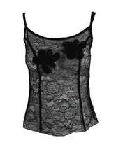 Chanel Black Lace Pearl Trimmed Embroidered Camisole 2004a