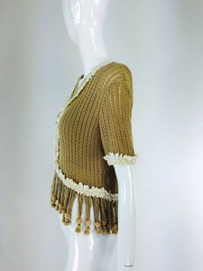 Moschino Nature Friendly Garment wooden bead fringe sweater twin set