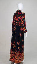 Valentino hazelnut printed velvet and silk maxi skirt and blouse set 1970s