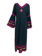 1960s Black Cotton Hand Embroidered Bell Sleeve Maxi Dress India