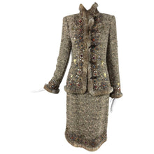 SOLD Oscar de la Renta jewel and fur trim soft tweed knit skirt set