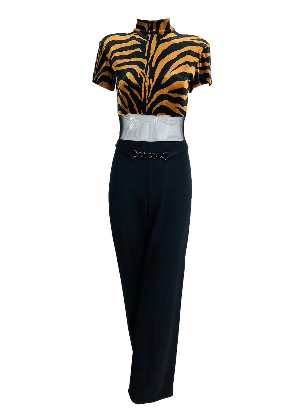 Tiger Panne Velvet Mesh and Jersey Jumpsuit 1970s Cache'