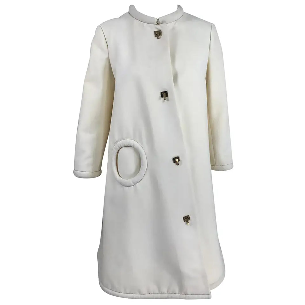 Pierre Cardin 1960s Off White Wool Coat with Metal Toggle Clasps Circle Pocket