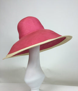SOLD Eric Javits Pink & Natural Fine Straw Wide Brim Hat