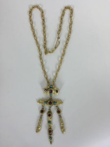 SOLD Henry Perichon Gilded metal renaissance style necklace 1960s