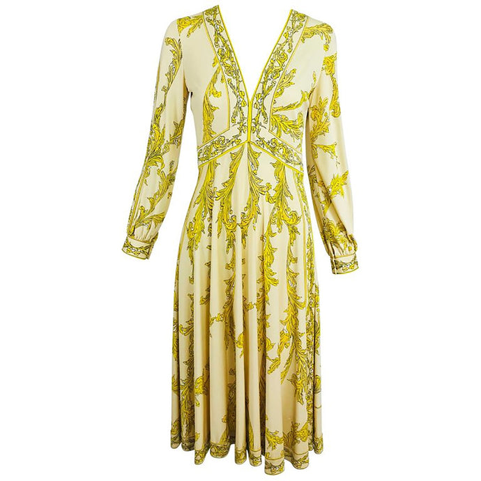 Vintage Emilio Pucci Silk jersey Print V Neck Dress 1970s