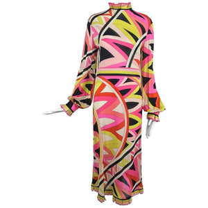 Pucci silk jersey ruffle trim dress 1960s