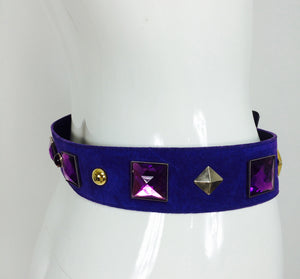SOLD Yves Saint Laurent jeweled purple suede belt 1980s