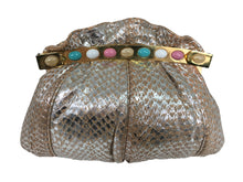 Carlo Fiori Silver Coral Faux Snake Jewel Clasp Evening Bag 1980s