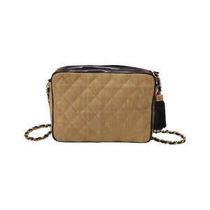 Vintage Chanel quilted raffia & patent leather bag