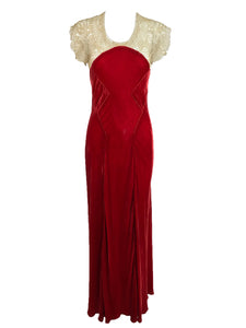 1930s Tape Lace and Red Velvet Bias Cut Evening Dress vintage