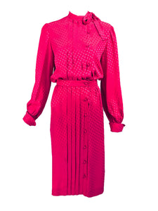 Martha Palm Beach Hot Pink Silk Jacquard Top and Skirt Set 1970s