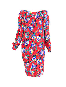 Yves Saint Laurent Red Floral Silk Jacquard Scoop Neck Dress 1990ss