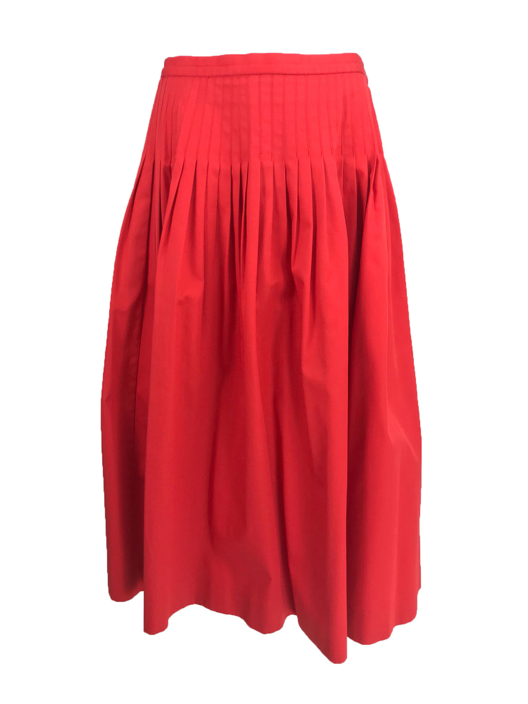 Vintage Yves Saint Laurent Tomato Red Cotton Full Pleated Skirt 1970s