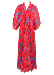 vintage Zandra Rhodes Coquille Print Pleated Caftan and Maxi Dress Set 1970s