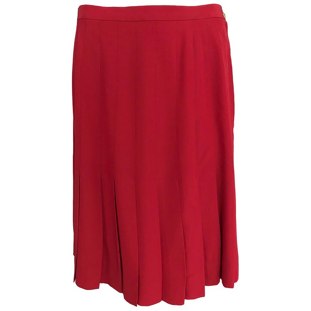 Chanel Red Silk Stitch Down Pleated Skirt