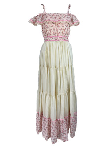 Vintage Mini Floral Tiered Ruffle Maxi Dress 1970s Prairie Style