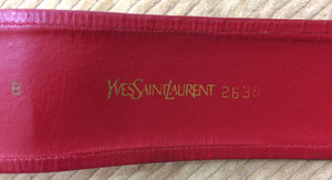Yves Saint Laurent red cotton cord and leather tie front belt 1960s