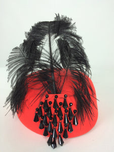 Halston beaded and feathered coral red felt hat 1970s