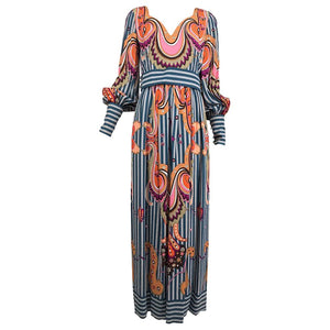 Ronald Amey Exotic Mod Print Silk Maxi Dress 1970s