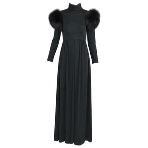 Vintage Lillie Rubin Victorian Inspired Black Jersey with Fur Shoulders 1970s