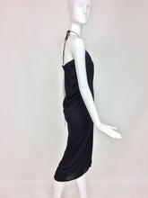Stephen Burrows black jersey halter neck tulip hem dress 1970s