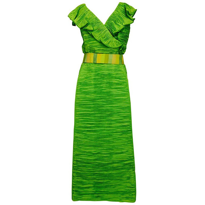 Sybil Connolly Dublin 2pc green pleated linen evening dress 1960s