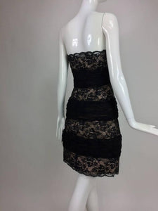 Arnold Scaasi Black Lace and Tulle Strapless Cocktail Dress 1980s