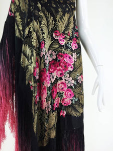 Gold Lame Silk Shawl With Rose Bouquets and Ombred Fringe 1920s