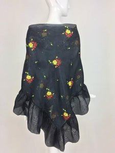 Christian Dior Floral Embroidered Black Silk Organza Ruffle Shawl 1970s