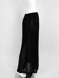 Yves Saint Laurent Black Silk Chiffon Knife Pleated Maxi Skirt Vintage 1970s
