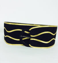 Yves Saint Laurent wide black suede with gold cord belt 1980s medium