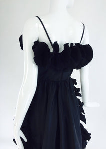 Frank Usher London Black Taffeta Ruffle Pleat Trim Cocktail Dress 1970s