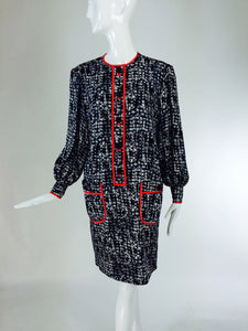 Stanley Platos black white & coral long sleeve shift dress