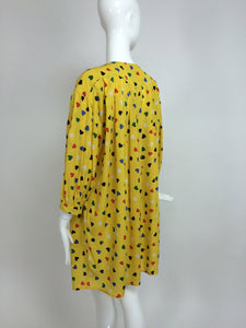 SOLD Emanuel Ungaro Coloured Heart Print Yellow Smock Dress 1980s