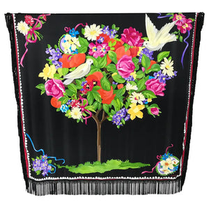 Magnificent Ungaro Silk Satin White Dove in Flower Tree Shawl 53 x 53